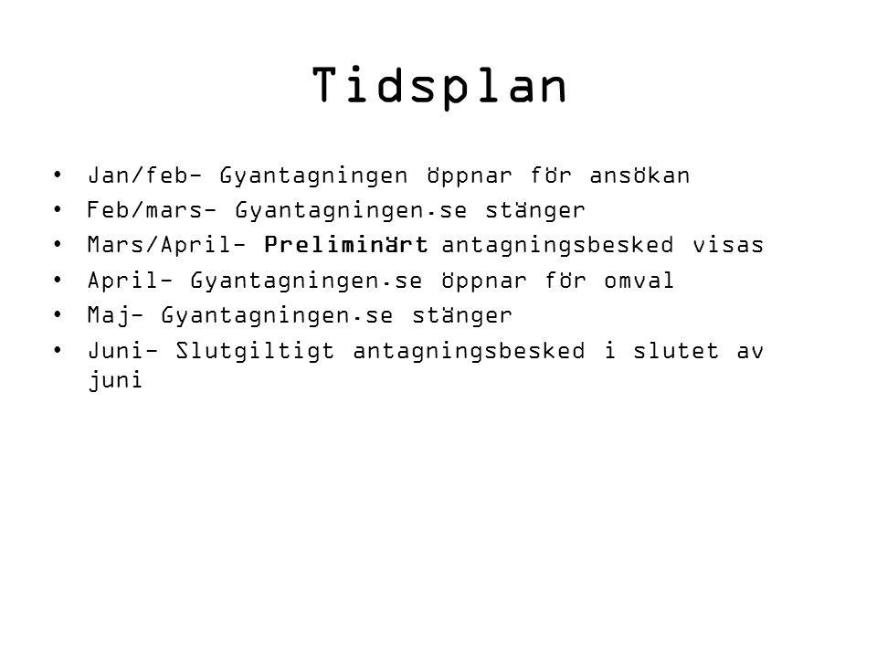 Tidsplan Jan/feb- Gyantagningen öppnar för ansökan Feb/mars- Gyantagningen.se stänger Mars/April- Preliminärt antagningsbesked visas April- Gyantagnin
