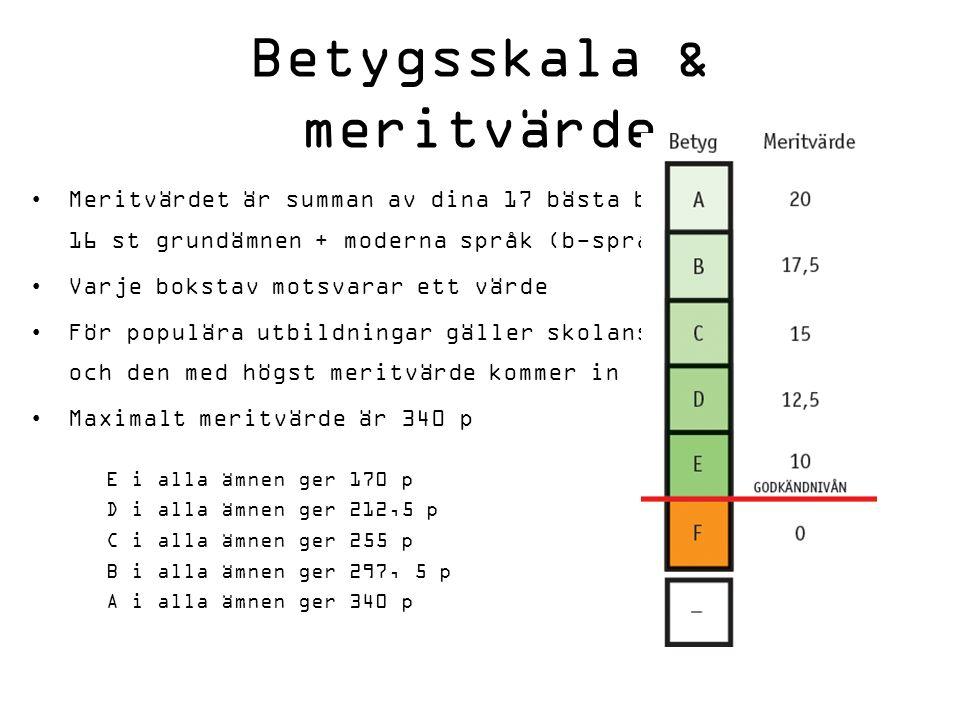 Betygsskala & meritvärde Meritvärdet är summan av dina 17 bästa betyg, 16 st grundämnen + moderna språk (b-språk) Varje bokstav motsvarar ett värde För populära utbildningar gäller skolans urval och den med högst meritvärde kommer in Maximalt meritvärde är 340 p E i alla ämnen ger 170 p D i alla ämnen ger 212,5 p C i alla ämnen ger 255 p B i alla ämnen ger 297, 5 p A i alla ämnen ger 340 p