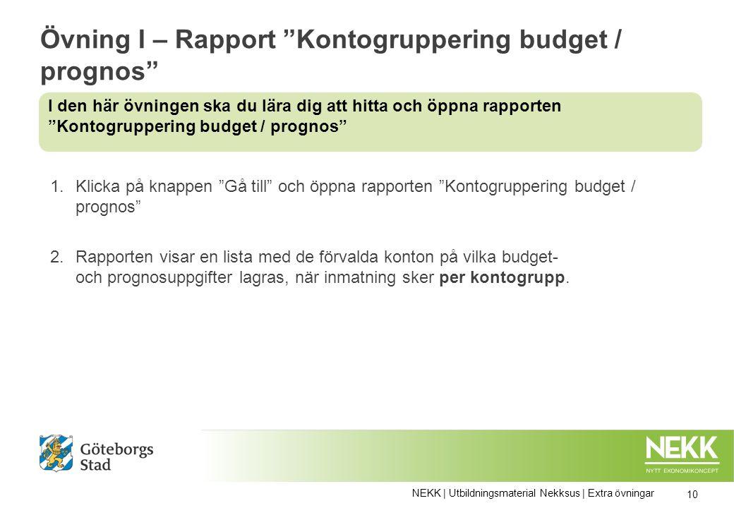Övning I – Rapport Kontogruppering budget / prognos 1.Klicka på knappen Gå till och öppna rapporten Kontogruppering budget / prognos 2.Rapporten visar en lista med de förvalda konton på vilka budget- och prognosuppgifter lagras, när inmatning sker per kontogrupp.