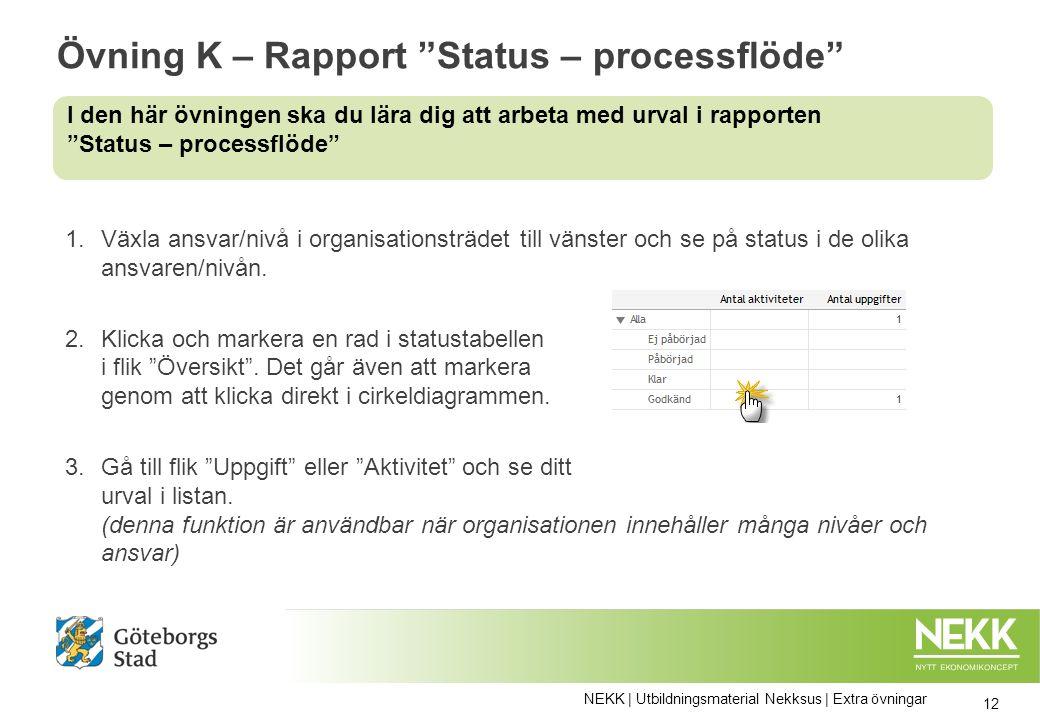 Övning K – Rapport Status – processflöde 1.Växla ansvar/nivå i organisationsträdet till vänster och se på status i de olika ansvaren/nivån.