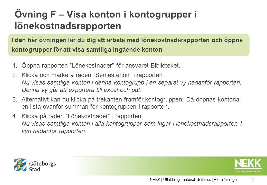 Övning F – Visa konton i kontogrupper i lönekostnadsrapporten 1.Öppna rapporten Lönekostnader för ansvaret Biblioteket.