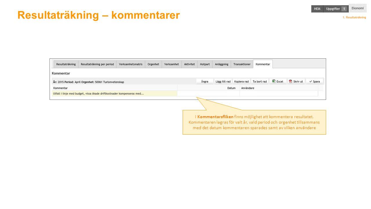 Resultaträkning – kommentarer I Kommentarsfliken finns möjlighet att kommentera resultatet.