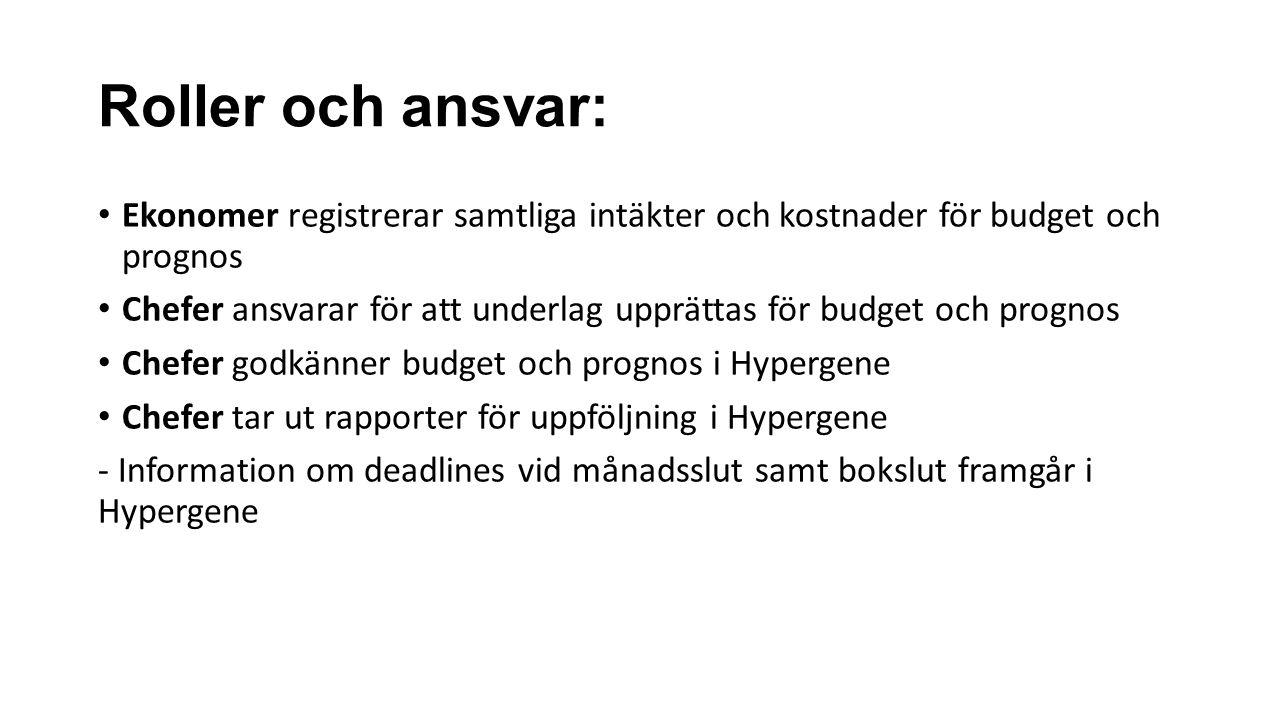 Roller och ansvar: Ekonomer registrerar samtliga intäkter och kostnader för budget och prognos Chefer ansvarar för att underlag upprättas för budget och prognos Chefer godkänner budget och prognos i Hypergene Chefer tar ut rapporter för uppföljning i Hypergene - Information om deadlines vid månadsslut samt bokslut framgår i Hypergene