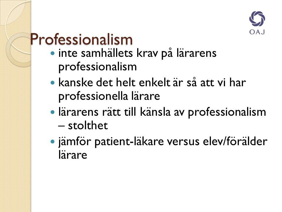Professionalism inte samhällets krav på lärarens professionalism kanske det helt enkelt är så att vi har professionella lärare lärarens rätt till känsla av professionalism – stolthet jämför patient-läkare versus elev/förälder lärare