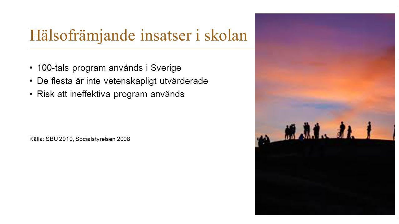 Hälsofrämjande insatser i skolan 100-tals program används i Sverige De flesta är inte vetenskapligt utvärderade Risk att ineffektiva program används K