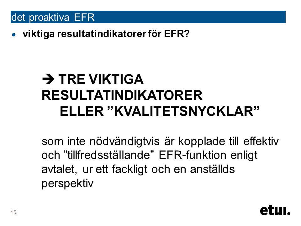 det proaktiva EFR 15 ● viktiga resultatindikatorer för EFR.