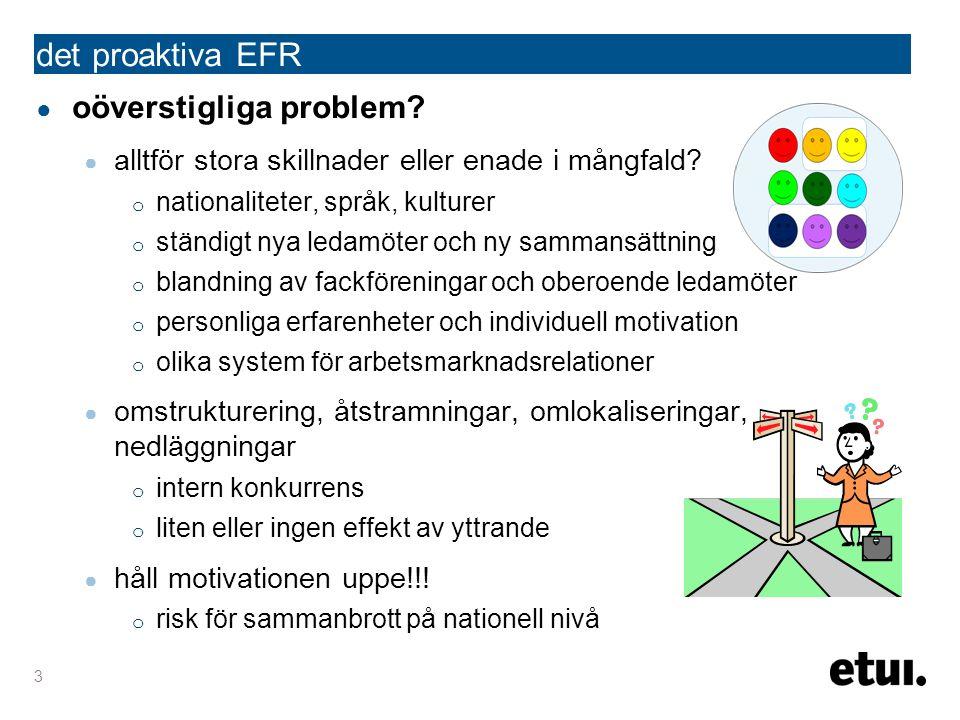 det proaktiva EFR ● oöverstigliga problem. ● alltför stora skillnader eller enade i mångfald.
