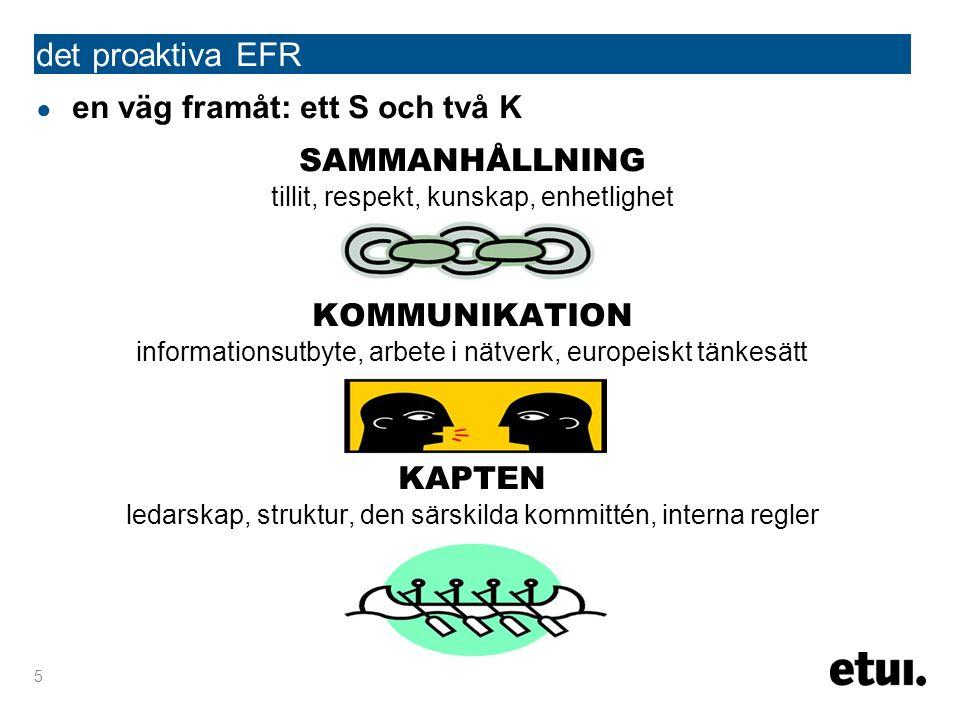 ● en väg framåt: ett S och två K SAMMANHÅLLNING tillit, respekt, kunskap, enhetlighet KOMMUNIKATION informationsutbyte, arbete i nätverk, europeiskt tänkesätt KAPTEN ledarskap, struktur, den särskilda kommittén, interna regler det proaktiva EFR 5
