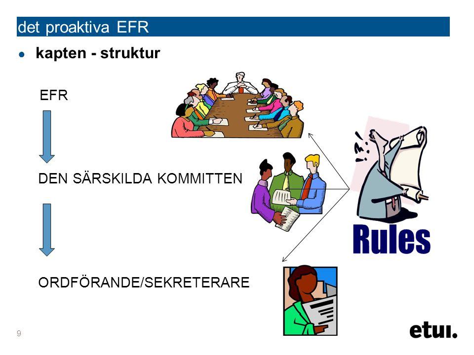 ● kapten - struktur EFR DEN SÄRSKILDA KOMMITTEN ORDFÖRANDE/SEKRETERARE 9