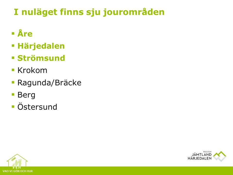 VAD VI GÖR OCH HUR  Åre  Härjedalen  Strömsund  Krokom  Ragunda/Bräcke  Berg  Östersund I nuläget finns sju jourområden
