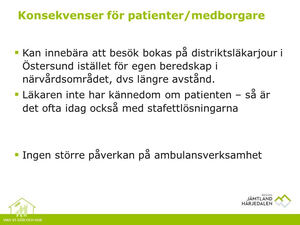 VAD VI GÖR OCH HUR  Kan innebära att besök bokas på distriktsläkarjour i Östersund istället för egen beredskap i närvårdsområdet, dvs längre avstånd.