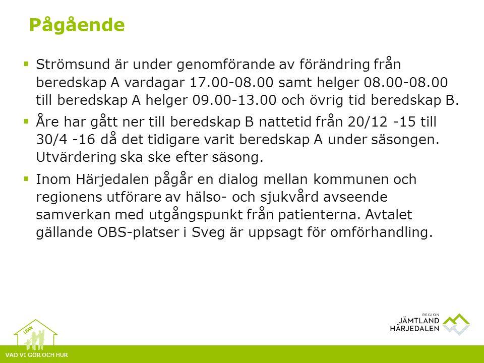 VAD VI GÖR OCH HUR  Strömsund är under genomförande av förändring från beredskap A vardagar 17.00-08.00 samt helger 08.00-08.00 till beredskap A helger 09.00-13.00 och övrig tid beredskap B.
