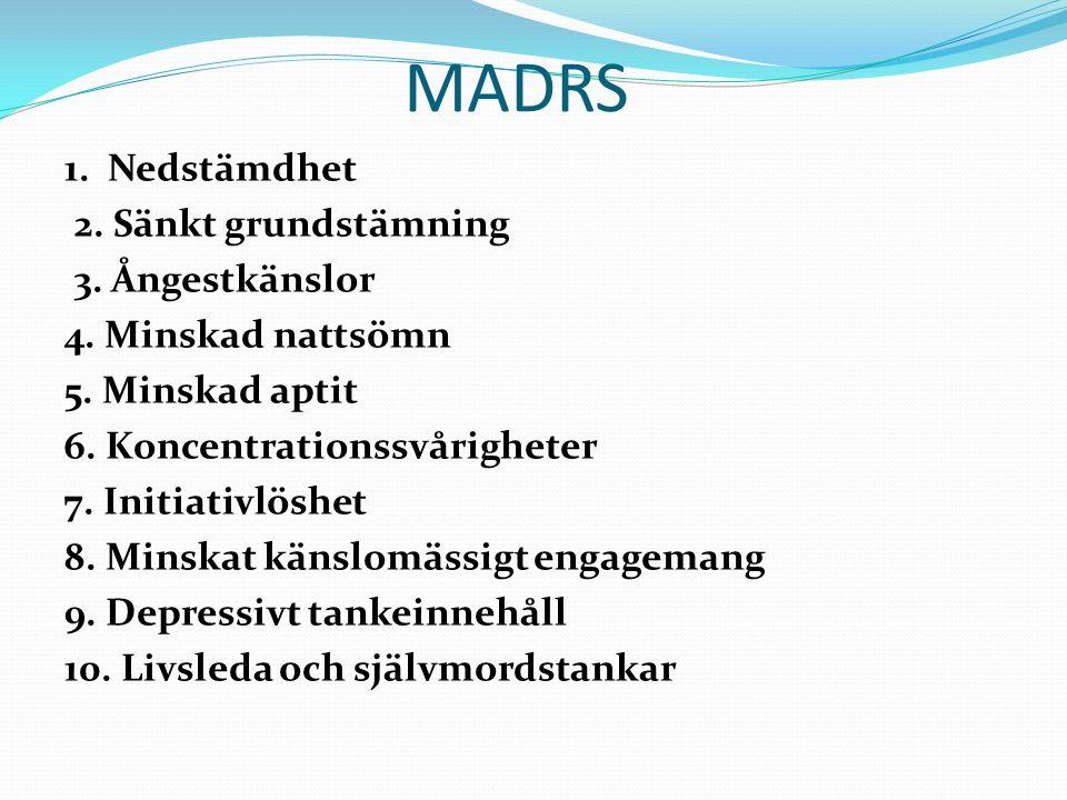 MADRS 1. Nedstämdhet 2. Sänkt grundstämning 3. Ångestkänslor 4.