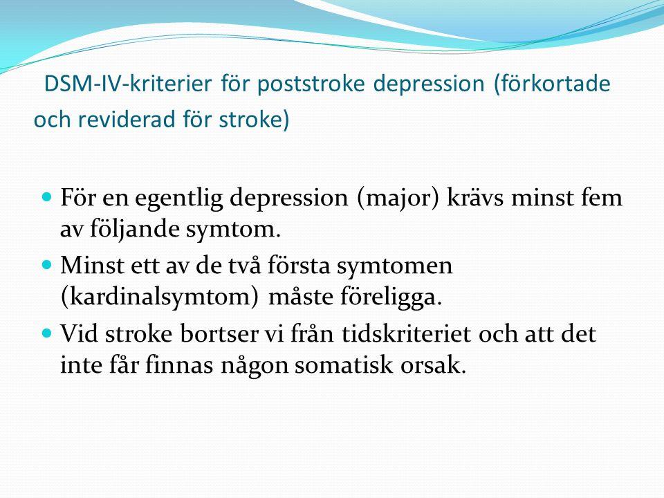 DSM-IV-kriterier för poststroke depression (förkortade och reviderad för stroke) För en egentlig depression (major) krävs minst fem av följande symtom.