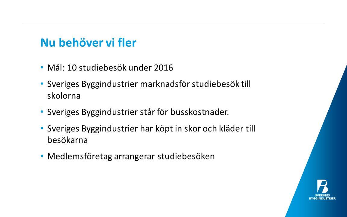 Nu behöver vi fler Mål: 10 studiebesök under 2016 Sveriges Byggindustrier marknadsför studiebesök till skolorna Sveriges Byggindustrier står för busskostnader.