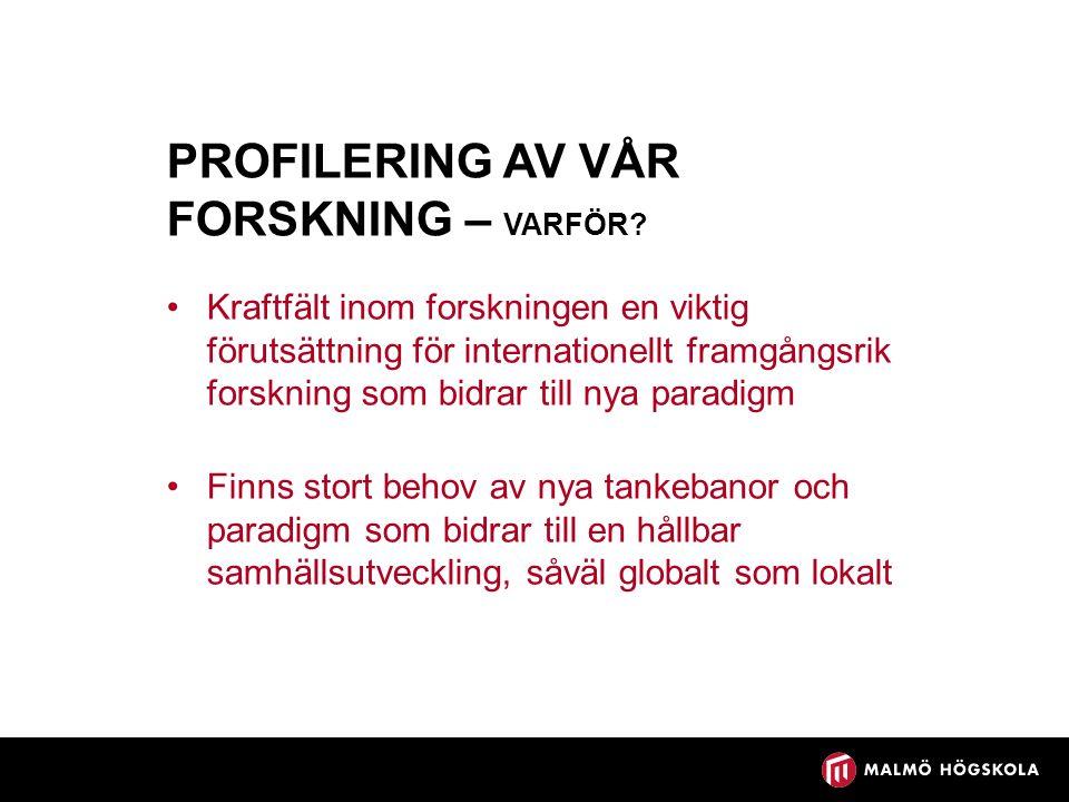 PROFILERING AV VÅR FORSKNING – VARFÖR.
