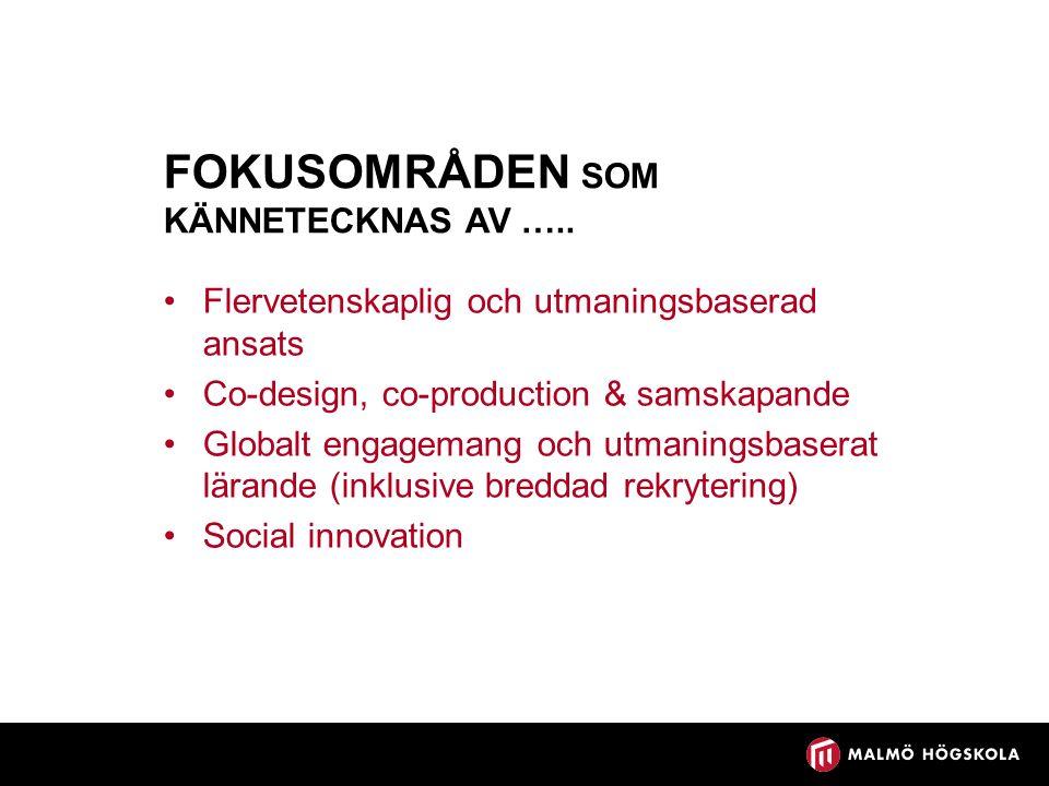 FOKUSOMRÅDEN SOM KÄNNETECKNAS AV …..