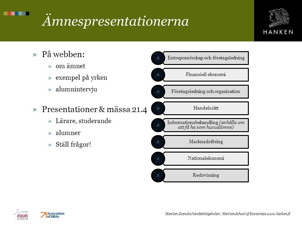 Ämnespresentationerna »På webben: »om ämnet »exempel på yrken »alumnintervju »Presentationer & mässa 21.4 »Lärare, studerande »alumner »Ställ frågor!
