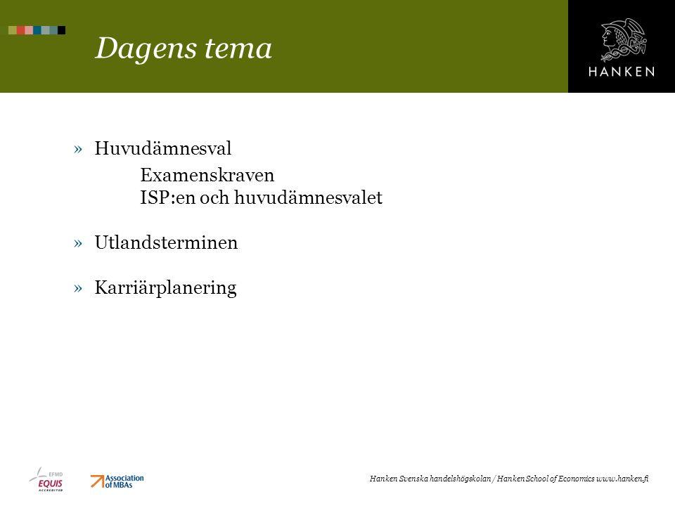 Dagens tema »Huvudämnesval Examenskraven ISP:en och huvudämnesvalet »Utlandsterminen »Karriärplanering Hanken Svenska handelshögskolan / Hanken School