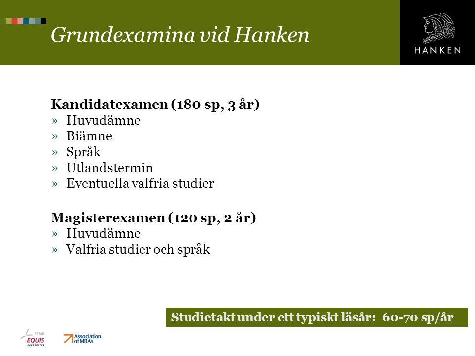 Grundexamina vid Hanken Kandidatexamen (180 sp, 3 år) »Huvudämne »Biämne »Språk »Utlandstermin »Eventuella valfria studier Magisterexamen (120 sp, 2 å