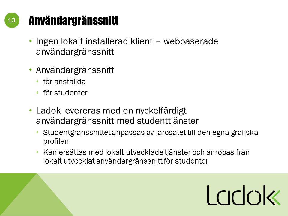 13 Användargränssnitt Ingen lokalt installerad klient – webbaserade användargränssnitt Användargränssnitt för anställda för studenter Ladok levereras