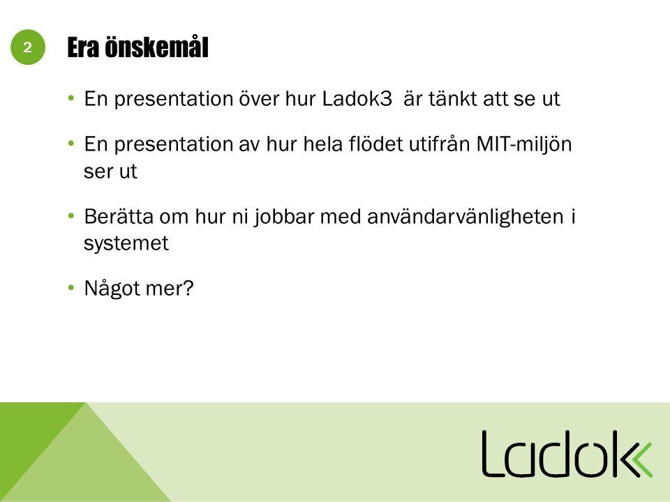 2 Era önskemål En presentation över hur Ladok3 är tänkt att se ut En presentation av hur hela flödet utifrån MIT-miljön ser ut Berätta om hur ni jobbar med användarvänligheten i systemet Något mer?