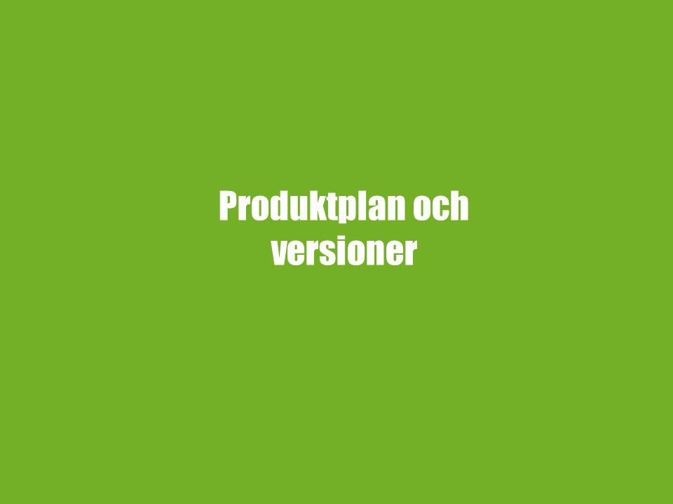 Produktplan och versioner