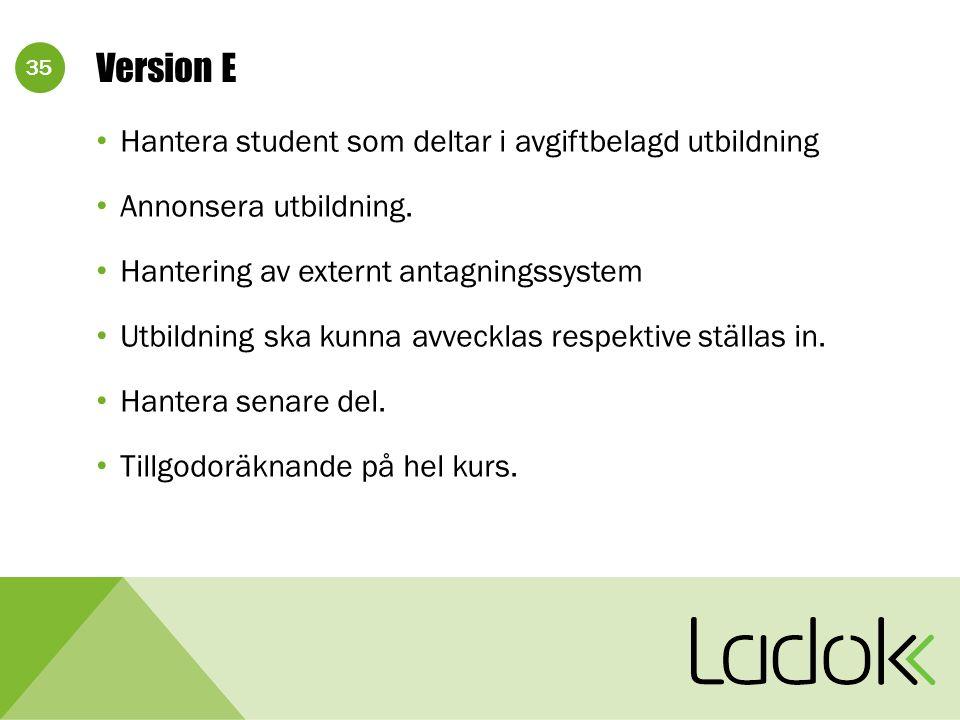 35 Version E Hantera student som deltar i avgiftbelagd utbildning Annonsera utbildning. Hantering av externt antagningssystem Utbildning ska kunna avv