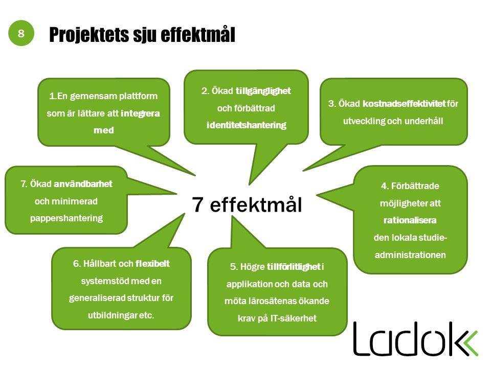 8 Projektets sju effektmål 1.En gemensam plattform som är lättare att integrera med 7 effektmål 4. Förbättrade möjligheter att rationalisera den lokal