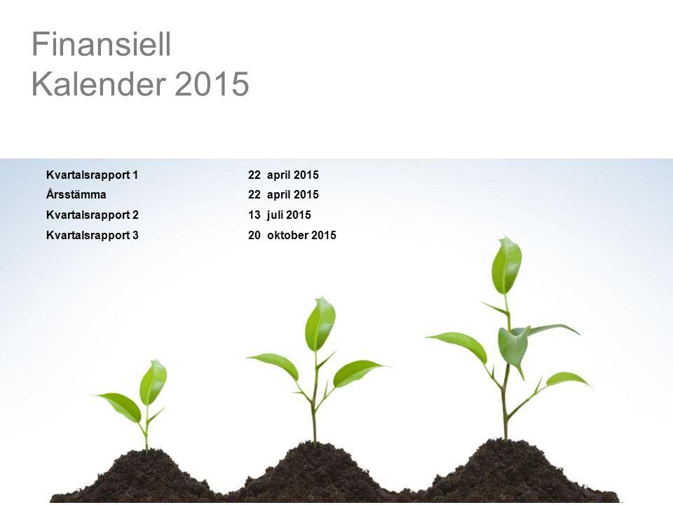 Kvartalsrapport 122 april 2015 Årsstämma22 april 2015 Kvartalsrapport 213 juli 2015 Kvartalsrapport 320 oktober 2015 Finansiell Kalender 2015
