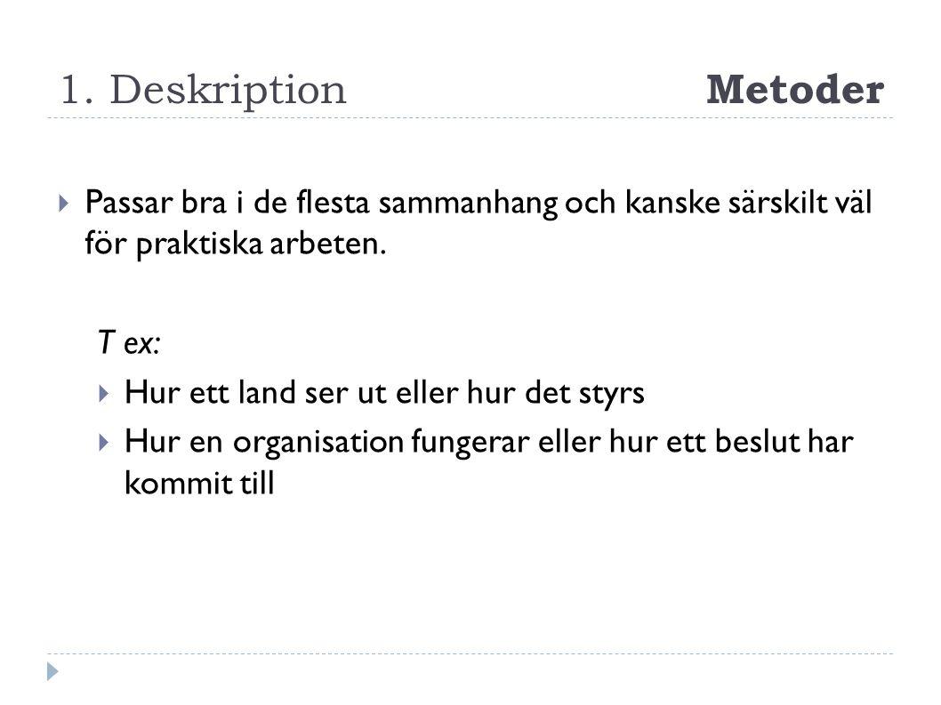 1. Deskription Metoder  Passar bra i de flesta sammanhang och kanske särskilt väl för praktiska arbeten. T ex:  Hur ett land ser ut eller hur det st
