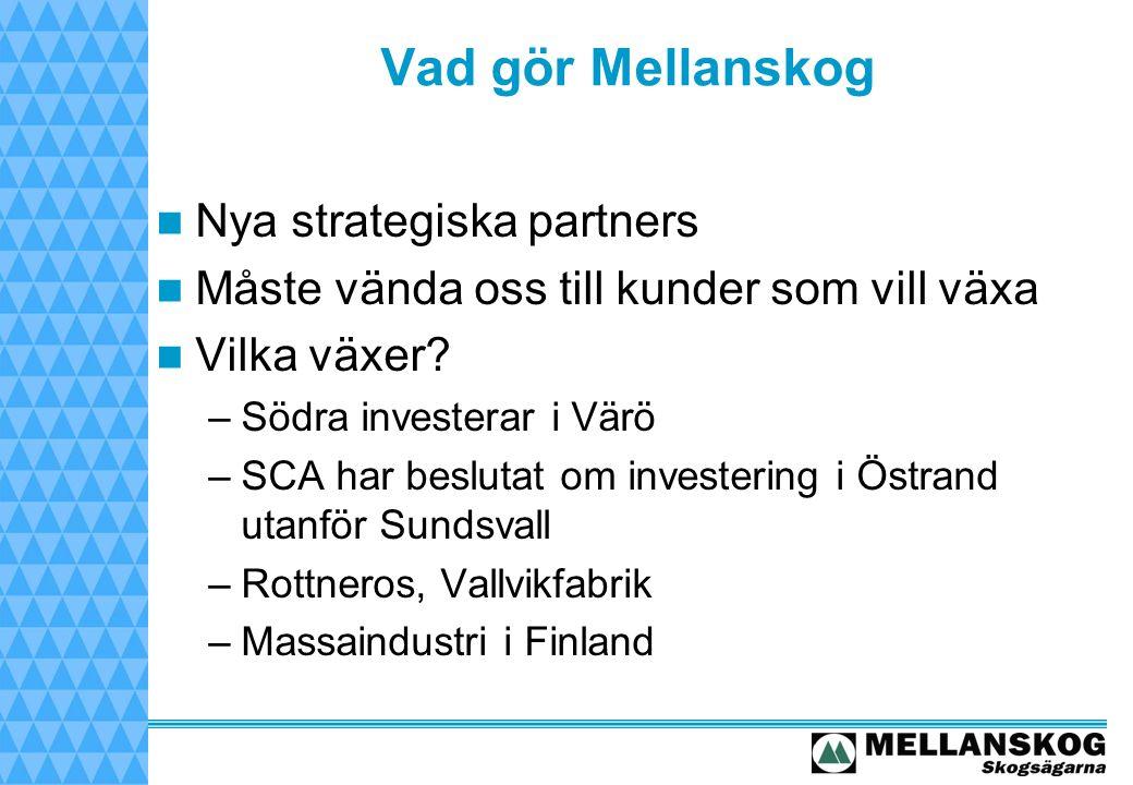 Vad gör Mellanskog Nya strategiska partners Måste vända oss till kunder som vill växa Vilka växer.