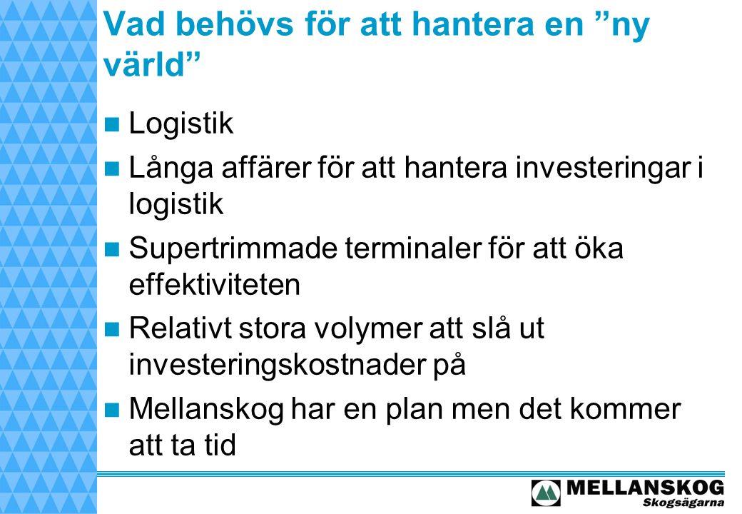 Vad behövs för att hantera en ny värld Logistik Långa affärer för att hantera investeringar i logistik Supertrimmade terminaler för att öka effektiviteten Relativt stora volymer att slå ut investeringskostnader på Mellanskog har en plan men det kommer att ta tid