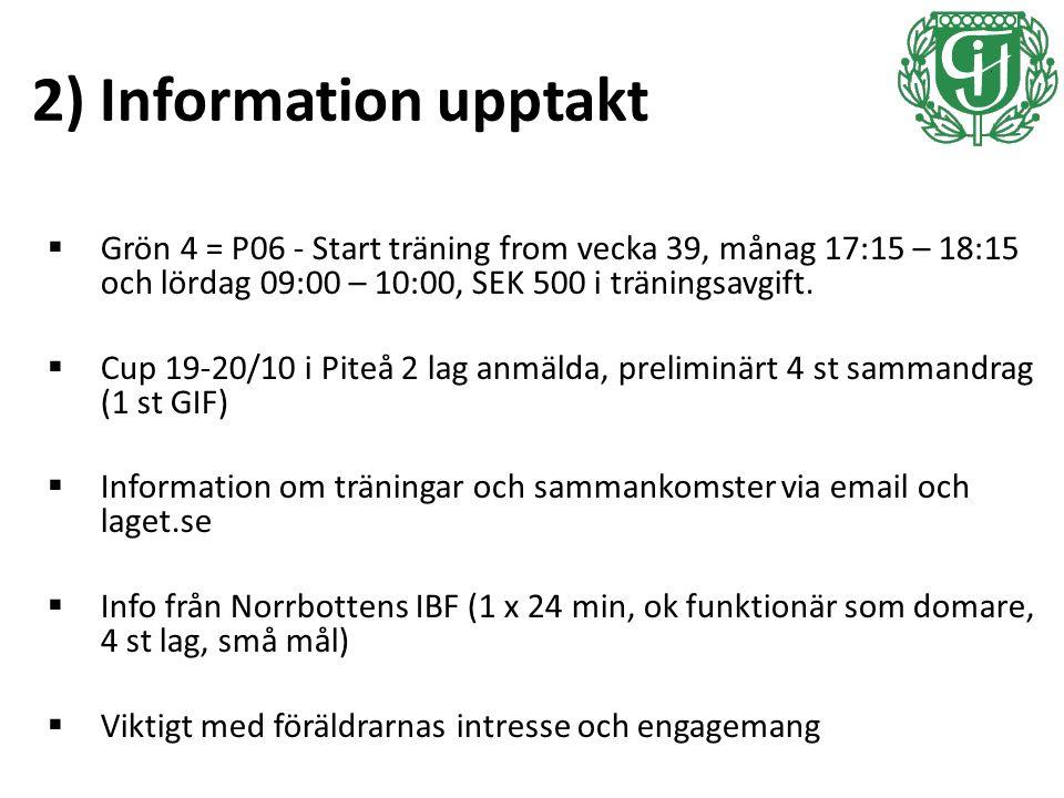 2) Information upptakt  Grön 4 = P06 - Start träning from vecka 39, månag 17:15 – 18:15 och lördag 09:00 – 10:00, SEK 500 i träningsavgift.