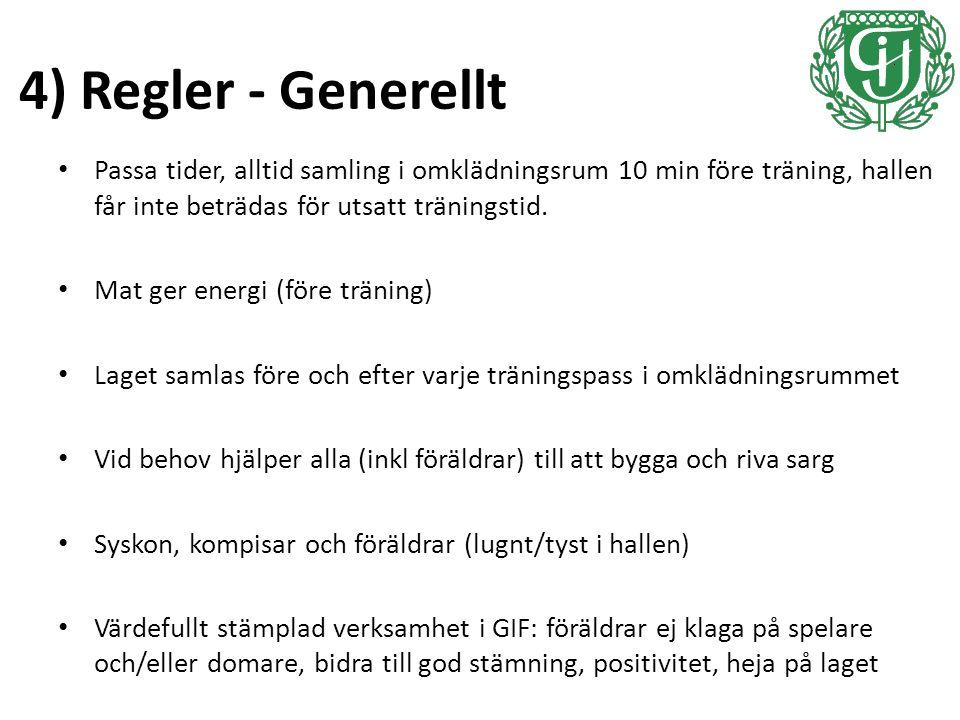 4) Regler - Generellt Passa tider, alltid samling i omklädningsrum 10 min före träning, hallen får inte beträdas för utsatt träningstid.