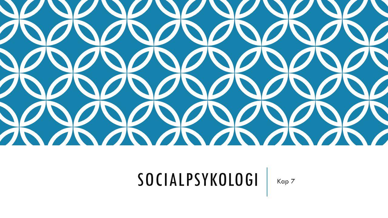 SOCIALPSYKOLOGI Lägger fokus på samspelet mellan människor – att förklara och förstå människors samspel Människan inte en skild varelse ifrån andra Vi blir människor i interaktionen med andra människor Genom sitt agerande påverkar vi vår omgivning och deras reaktioner.