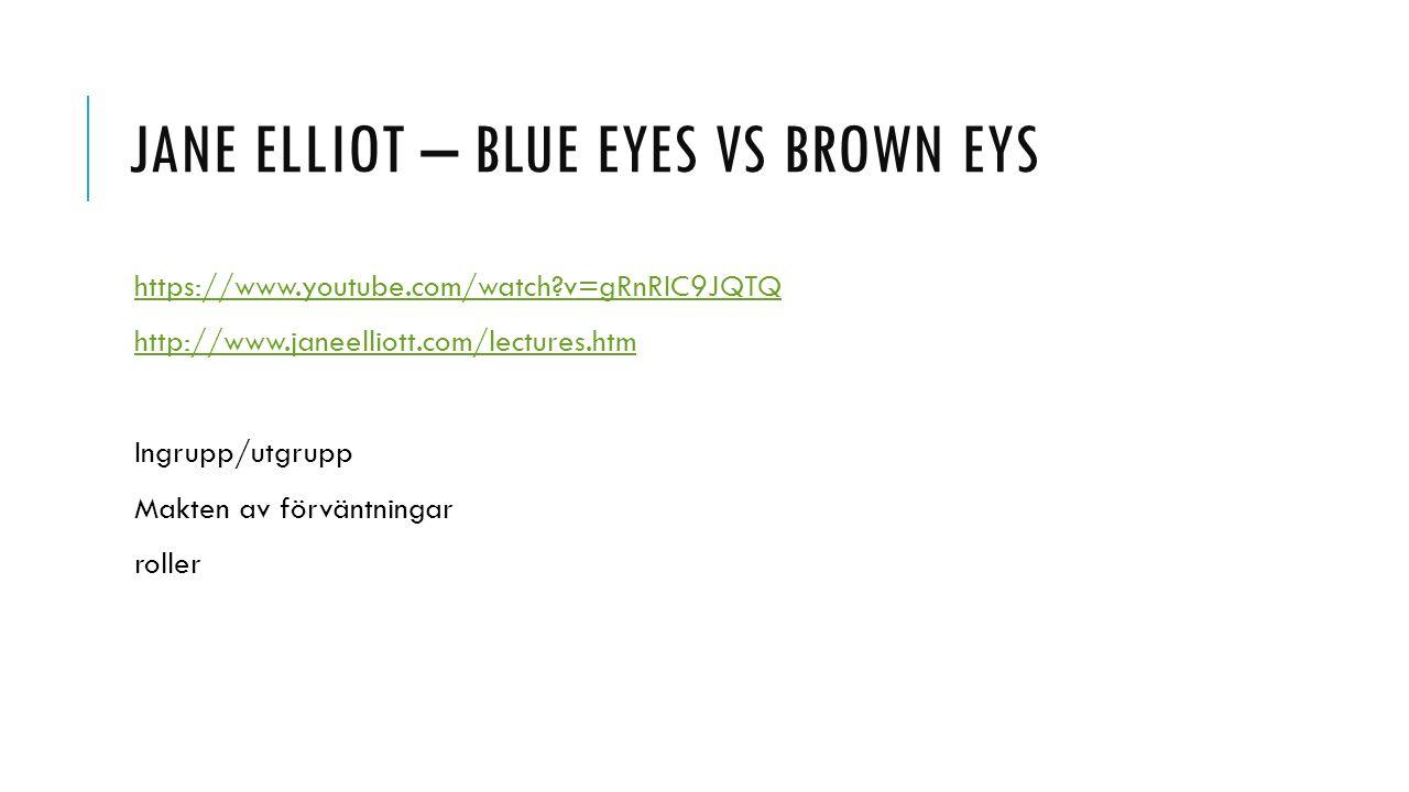 JANE ELLIOT – BLUE EYES VS BROWN EYS https://www.youtube.com/watch?v=gRnRIC9JQTQ http://www.janeelliott.com/lectures.htm Ingrupp/utgrupp Makten av för
