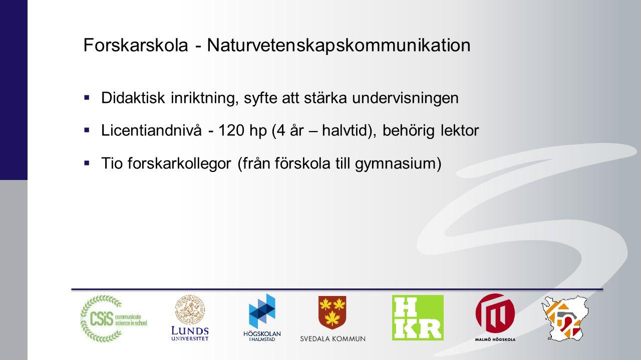  Didaktisk inriktning, syfte att stärka undervisningen  Licentiandnivå - 120 hp (4 år – halvtid), behörig lektor  Tio forskarkollegor (från förskola till gymnasium) Forskarskola - Naturvetenskapskommunikation