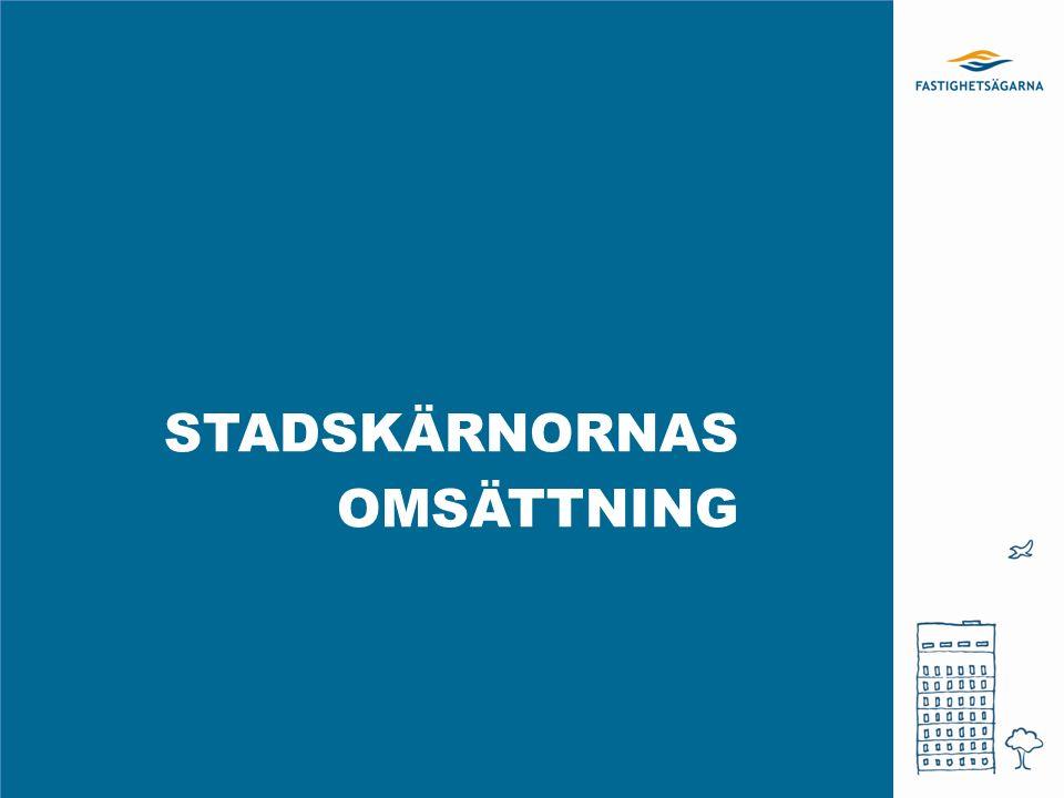 STADSKÄRNORNAS OMSÄTTNING Totalt i miljoner kr, 2014