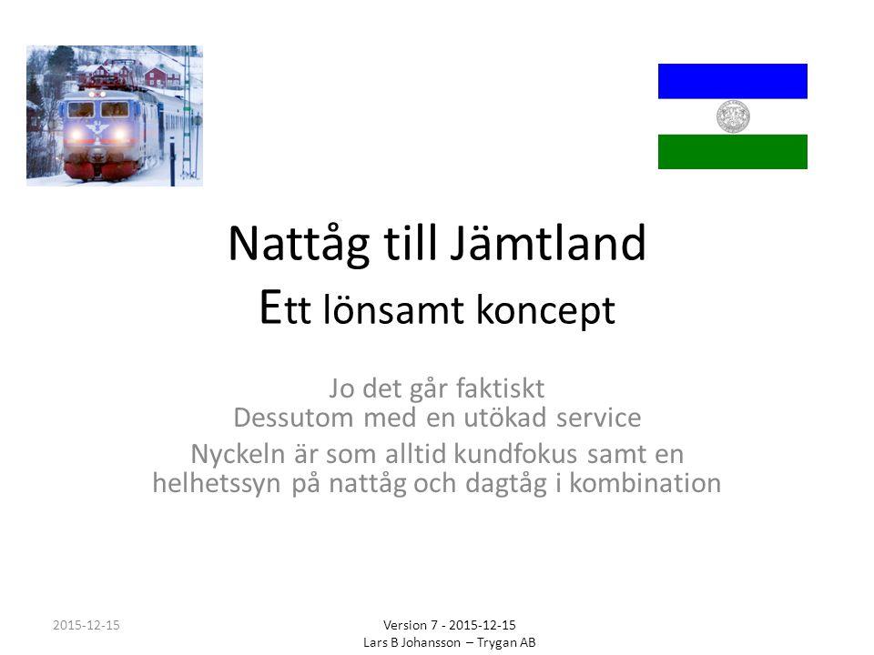 Åtgärdspaket Jämtlandståg Se helheten med både dagtåg och nattåg. 2015-12-15