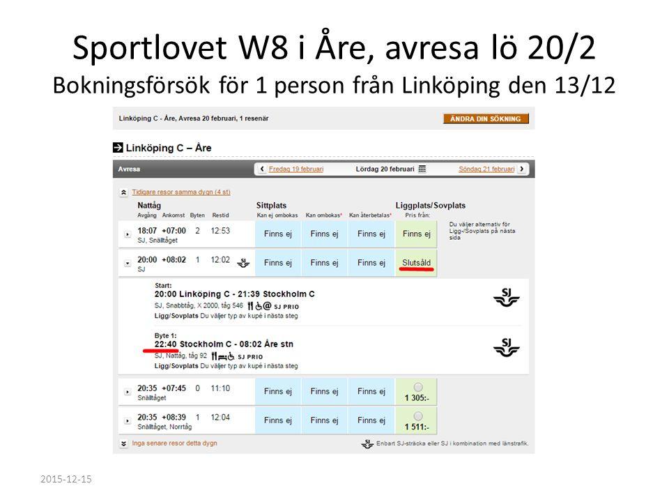 Sportlovet W8 i Åre, avresa lö 20/2 Bokningsförsök för 1 person från Linköping den 13/12 2015-12-15