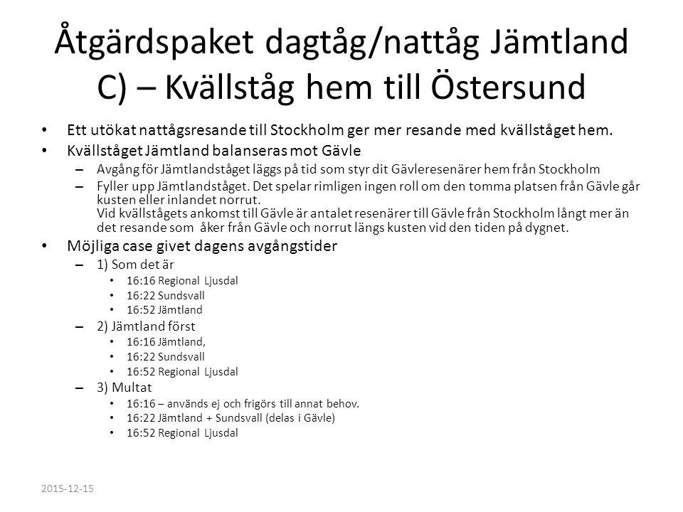 Åtgärdspaket dagtåg/nattåg Jämtland C) – Kvällståg hem till Östersund Ett utökat nattågsresande till Stockholm ger mer resande med kvällståget hem.