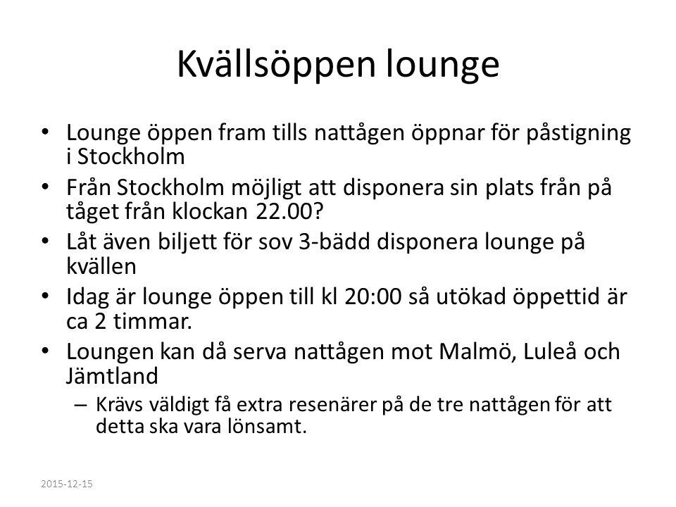 Kvällsöppen lounge Lounge öppen fram tills nattågen öppnar för påstigning i Stockholm Från Stockholm möjligt att disponera sin plats från på tåget från klockan 22.00.