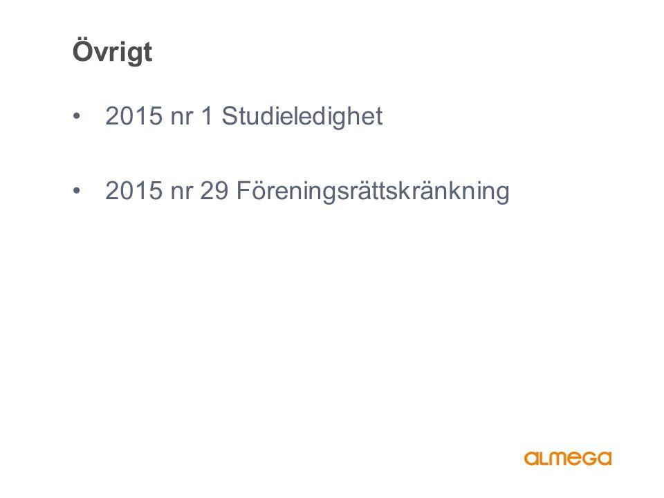 Övrigt 2015 nr 1 Studieledighet 2015 nr 29 Föreningsrättskränkning