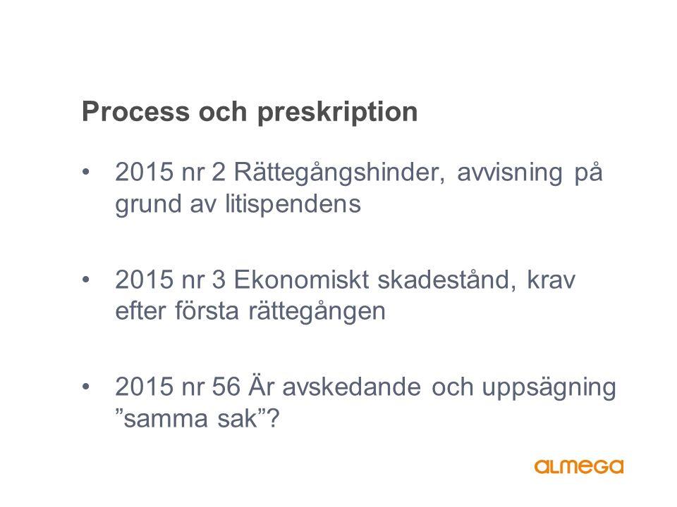 Process och preskription 2015 nr 2 Rättegångshinder, avvisning på grund av litispendens 2015 nr 3 Ekonomiskt skadestånd, krav efter första rättegången 2015 nr 56 Är avskedande och uppsägning samma sak