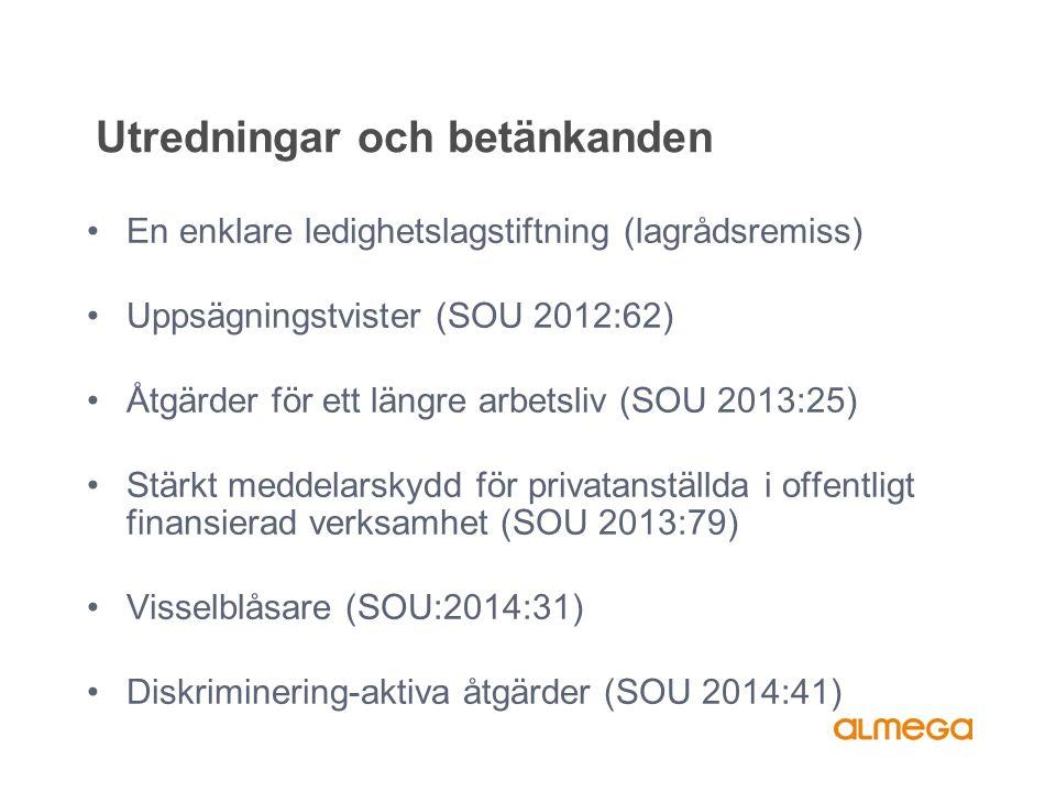 Utredningar och betänkanden En enklare ledighetslagstiftning (lagrådsremiss) Uppsägningstvister (SOU 2012:62) Åtgärder för ett längre arbetsliv (SOU 2013:25) Stärkt meddelarskydd för privatanställda i offentligt finansierad verksamhet (SOU 2013:79) Visselblåsare (SOU:2014:31) Diskriminering-aktiva åtgärder (SOU 2014:41)