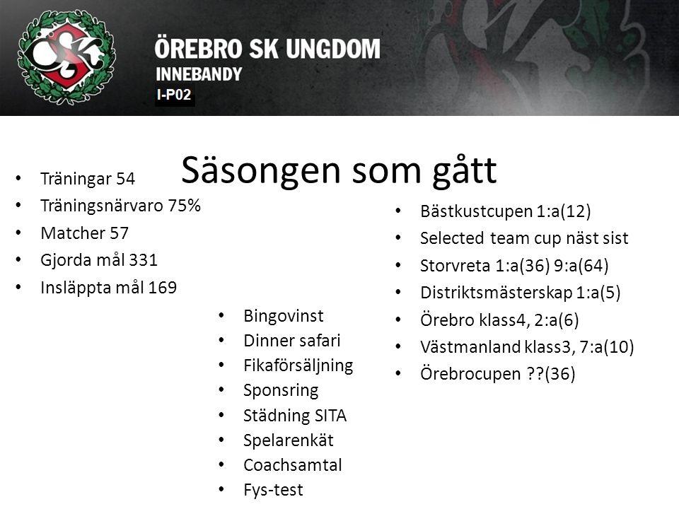Säsongen som gått Träningar 54 Träningsnärvaro 75% Matcher 57 Gjorda mål 331 Insläppta mål 169 Bästkustcupen 1:a(12) Selected team cup näst sist Storv