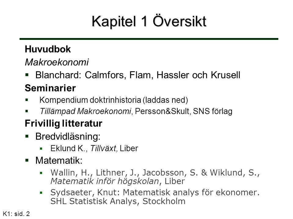 K1: sid.13 Tre olika tillvägagångssätt att mäta och definiera BNP som alla ger samma resultat 1.