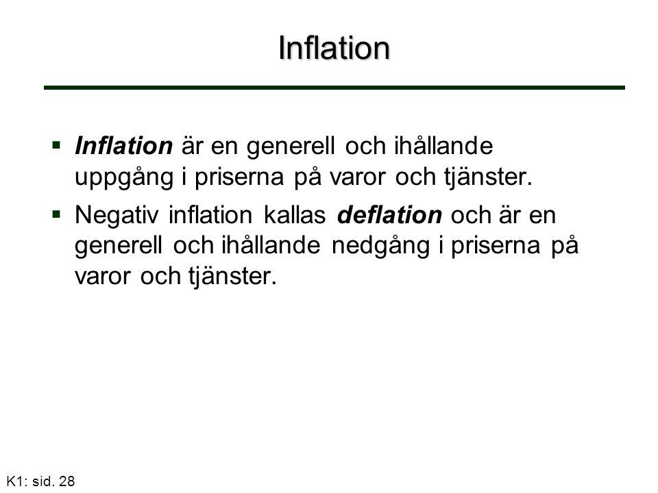 Inflation   Inflation är en generell och ihållande uppgång i priserna på varor och tjänster.   Negativ inflation kallas deflation och är en genere
