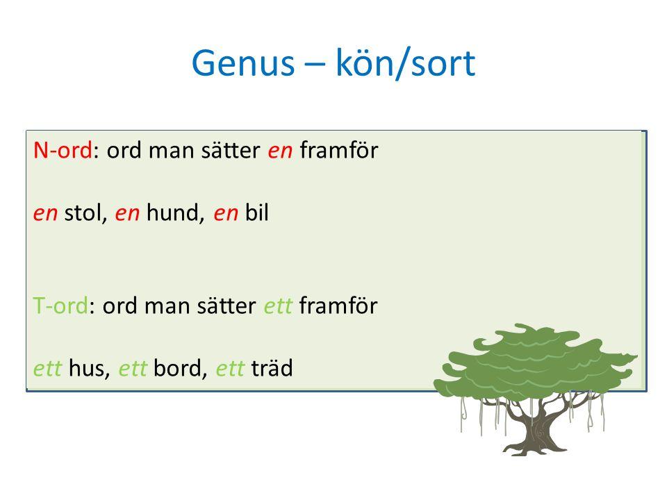 Genus – kön/sort N-ord: ord man sätter en framför en stol, en hund, en bil T-ord: ord man sätter ett framför ett hus, ett bord, ett träd